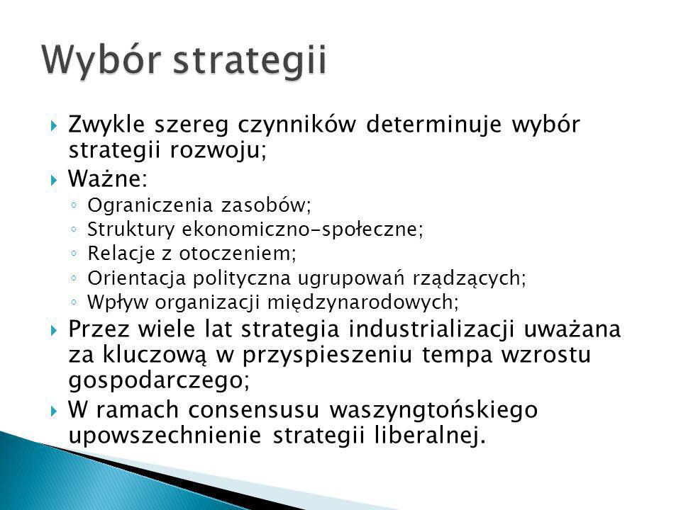 Zwykle szereg czynników determinuje wybór strategii rozwoju; Ważne: Ograniczenia zasobów; Struktury ekonomiczno-społeczne; Relacje z otoczeniem; Orien