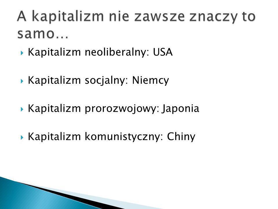 Kapitalizm neoliberalny: USA Kapitalizm socjalny: Niemcy Kapitalizm prorozwojowy: Japonia Kapitalizm komunistyczny: Chiny
