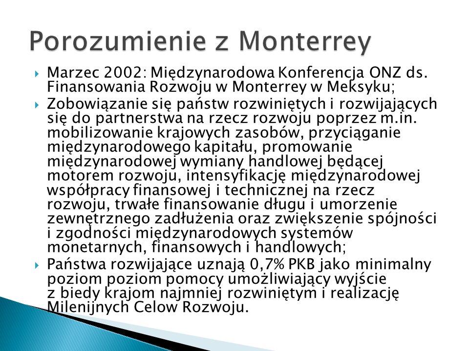 Marzec 2002: Międzynarodowa Konferencja ONZ ds. Finansowania Rozwoju w Monterrey w Meksyku; Zobowiązanie się państw rozwiniętych i rozwijających się d