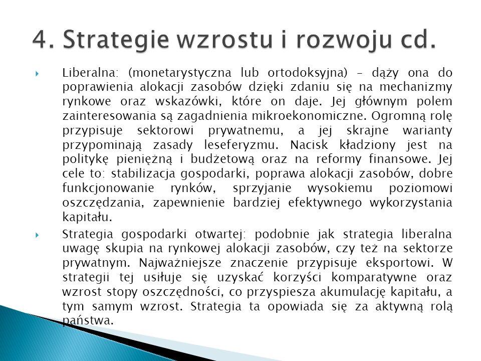 Liberalna: (monetarystyczna lub ortodoksyjna) – dąży ona do poprawienia alokacji zasobów dzięki zdaniu się na mechanizmy rynkowe oraz wskazówki, które
