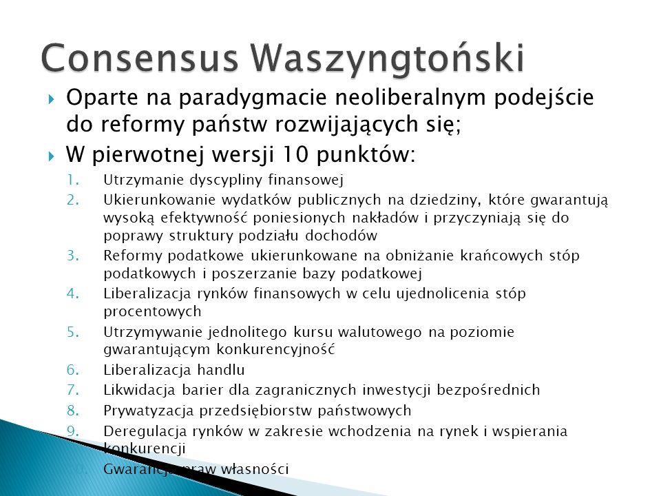 Oparte na paradygmacie neoliberalnym podejście do reformy państw rozwijających się; W pierwotnej wersji 10 punktów: 1.Utrzymanie dyscypliny finansowej