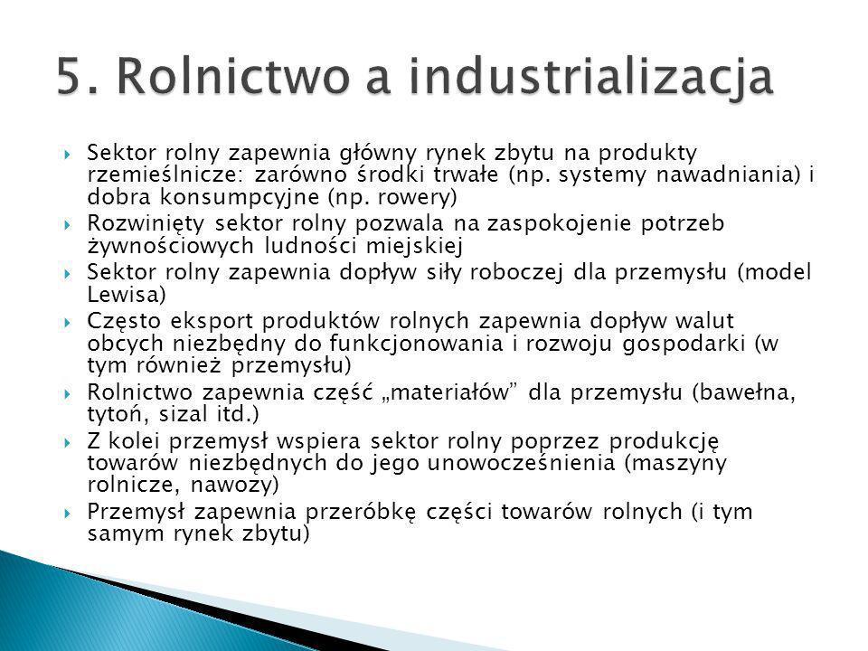 Sektor rolny zapewnia główny rynek zbytu na produkty rzemieślnicze: zarówno środki trwałe (np. systemy nawadniania) i dobra konsumpcyjne (np. rowery)
