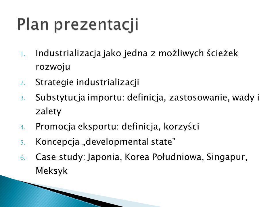 1. Industrializacja jako jedna z możliwych ścieżek rozwoju 2. Strategie industrializacji 3. Substytucja importu: definicja, zastosowanie, wady i zalet