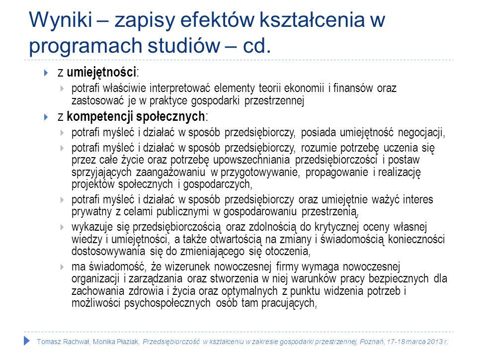 Tomasz Rachwał, Monika Płaziak, Przedsiębiorczość w kształceniu w zakresie gospodarki przestrzennej, Poznań, 17-18 marca 2013 r. Wyniki – zapisy efekt