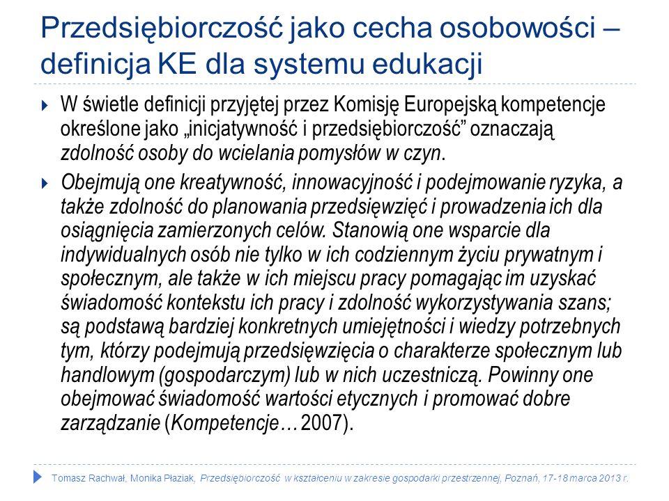 Tomasz Rachwał, Monika Płaziak, Przedsiębiorczość w kształceniu w zakresie gospodarki przestrzennej, Poznań, 17-18 marca 2013 r. Przedsiębiorczość jak