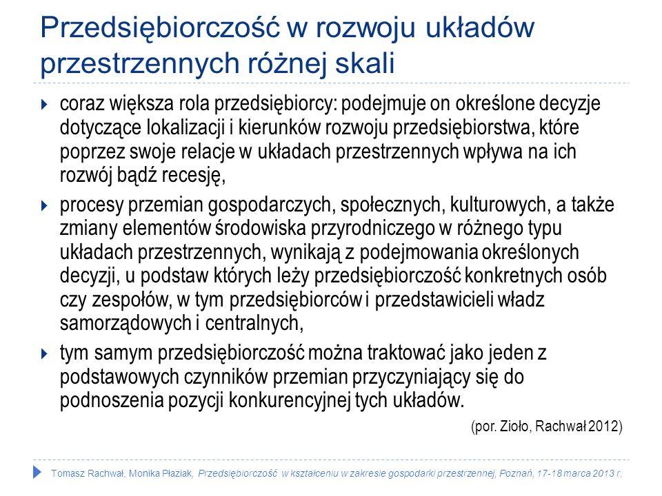 Tomasz Rachwał, Monika Płaziak, Przedsiębiorczość w kształceniu w zakresie gospodarki przestrzennej, Poznań, 17-18 marca 2013 r. Przedsiębiorczość w r