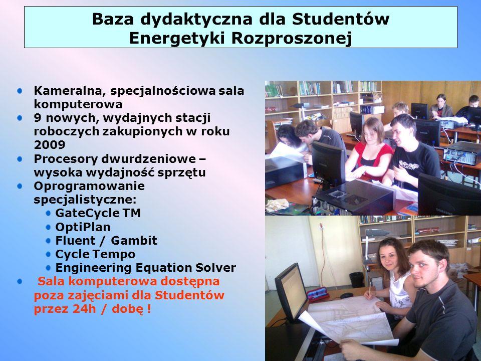 6 Baza dydaktyczna dla Studentów Energetyki Rozproszonej Kameralna, specjalnościowa sala komputerowa 9 nowych, wydajnych stacji roboczych zakupionych