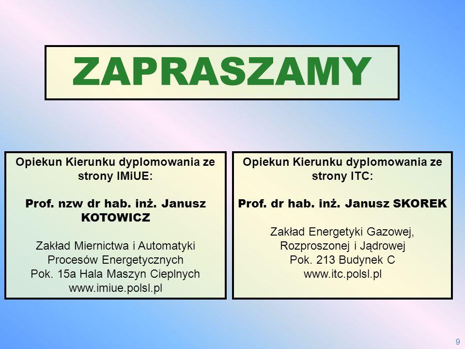 9 ZAPRASZAMY Opiekun Kierunku dyplomowania ze strony IMiUE: Prof. nzw dr hab. inż. Janusz KOTOWICZ Zakład Miernictwa i Automatyki Procesów Energetyczn