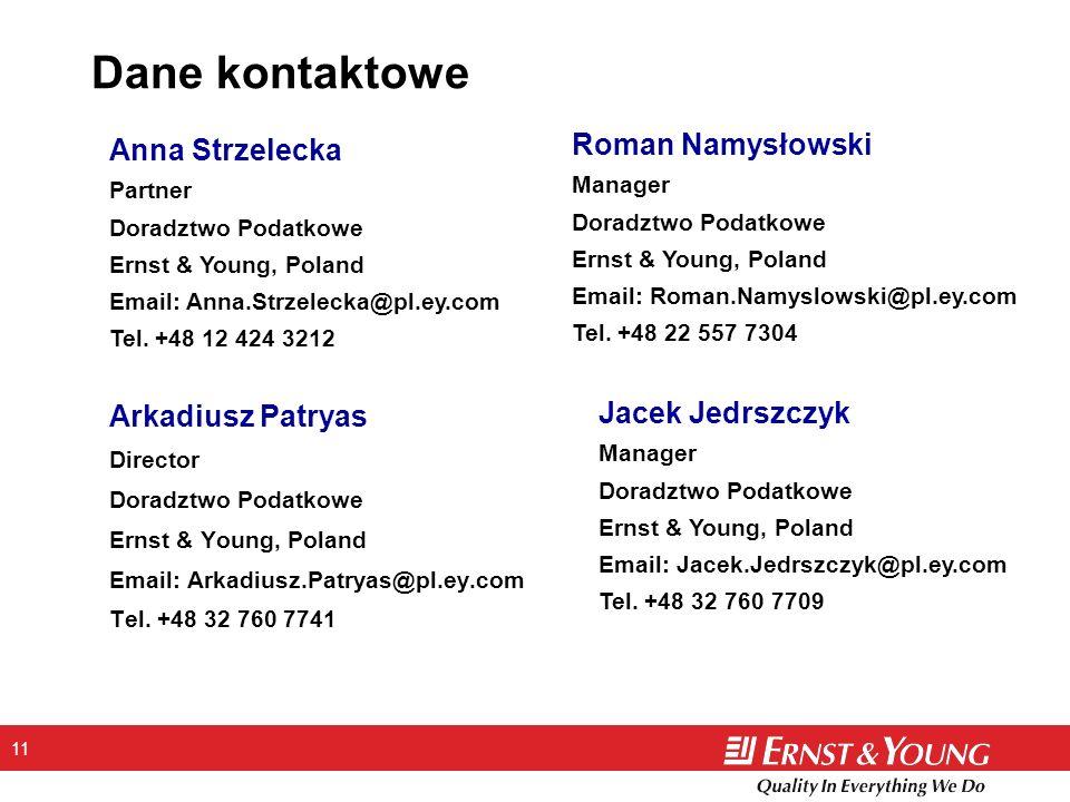 11 Dane kontaktowe Arkadiusz Patryas Director Doradztwo Podatkowe Ernst & Young, Poland Email: Arkadiusz.Patryas@pl.ey.com Tel.