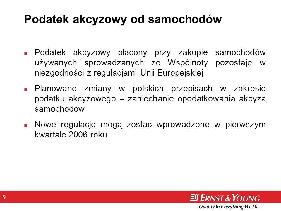 9 Podatek akcyzowy od samochodów n Podatek akcyzowy płacony przy zakupie samochodów używanych sprowadzanych ze Wspólnoty pozostaje w niezgodności z regulacjami Unii Europejskiej n Planowane zmiany w polskich przepisach w zakresie podatku akcyzowego – zaniechanie opodatkowania akcyzą samochodów n Nowe regulacje mogą zostać wprowadzone w pierwszym kwartale 2006 roku