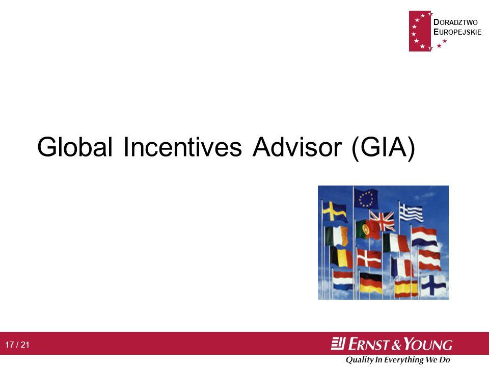 D ORADZTWO E UROPEJSKIE 17 / 21 Global Incentives Advisor (GIA)