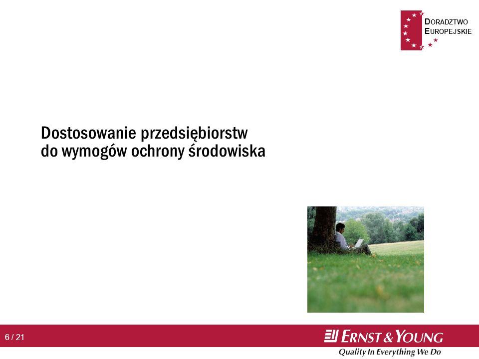 D ORADZTWO E UROPEJSKIE 7 / 21 n Obszary wsparcia Þ wsparcie w zakresie przeprowadzenia inwestycji koniecznych do uzyskania pozwolenia zintegrowanego Þ wsparcie w zakresie ochrony powietrza Þ wsparcie w zakresie gospodarki odpadami przemysłowymi i niebezpiecznymi Þ wsparcie w zakresie gospodarki wodno-ściekowej n Warunki realizacji Þ budżet (Polska, 2004 - 2006): 207 mln EUR Þ termin: 17 stycznia – 18 marca 2005 Dostosowanie przedsiębiorstw do wymogów środowiska