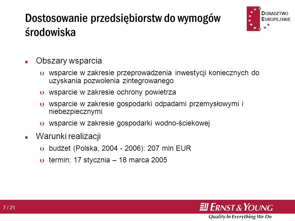 D ORADZTWO E UROPEJSKIE 8 / 21 Dostosowanie do wymogów ochrony środowiska – beneficjenci n Inwestycje w zakresie ochrony powietrza Þ Pomoc dostępna wyłącznie dla podmiotów wymienionych w załączniku XII, rozdział 13 do Traktatu Akcesyjnego oraz w załączniku 1 pkt IV.1, IV.2, IV.3 Rozporządzenia Ministra Środowiska z dnia 4 sierpnia 2003 r.