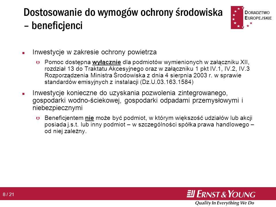 D ORADZTWO E UROPEJSKIE 9 / 21 Dostosowanie do wymogów ochrony środowiska – wysokość wsparcia n Maksymalne wsparcie - % kosztów inwestycji: Þ Nowe inwestycje: Warszawa, Poznań – 30% (MŚP – 45%) Kraków, Wrocław, Trójmiasto – 40% (MŚP – 55%) Pozostałe obszary – 50% (MŚP – 65%) Þ Inne inwestycje (tj.