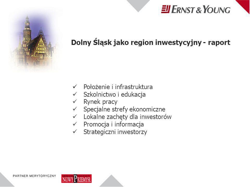 Położenie i infrastruktura Szkolnictwo i edukacja Rynek pracy Specjalne strefy ekonomiczne Lokalne zachęty dla inwestorów Promocja i informacja Strategiczni inwestorzy Dolny Śląsk jako region inwestycyjny - raport