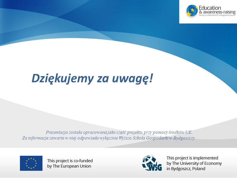 Dziękujemy za uwagę. Prezentacja została opracowana jako część projektu przy pomocy środków UE.