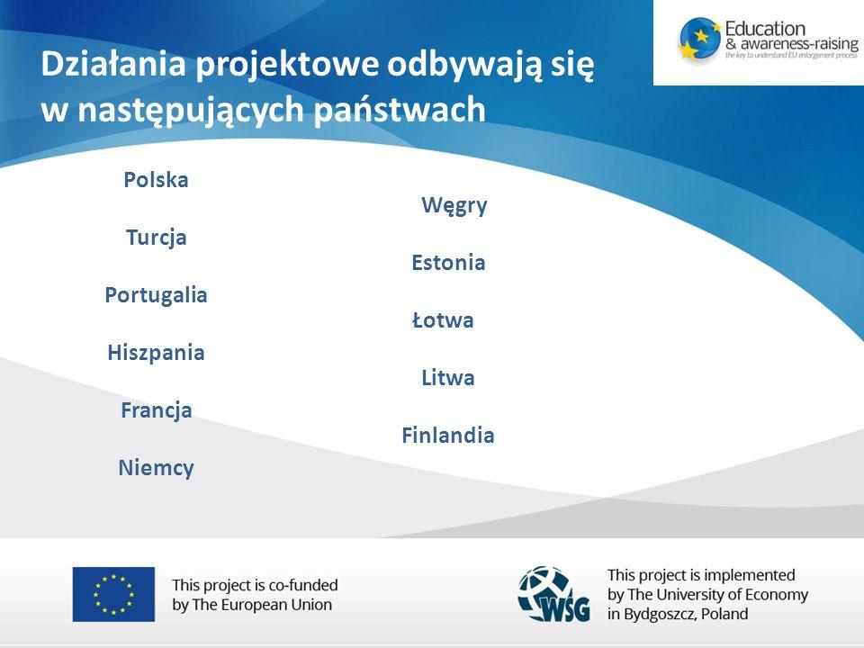 Działania projektowe odbywają się w następujących państwach Polska Turcja Portugalia Hiszpania Francja Niemcy Węgry Estonia Łotwa Litwa Finlandia
