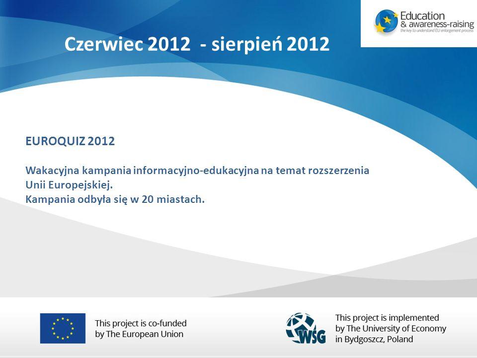 EUROQUIZ 2012 Wakacyjna kampania informacyjno-edukacyjna na temat rozszerzenia Unii Europejskiej.