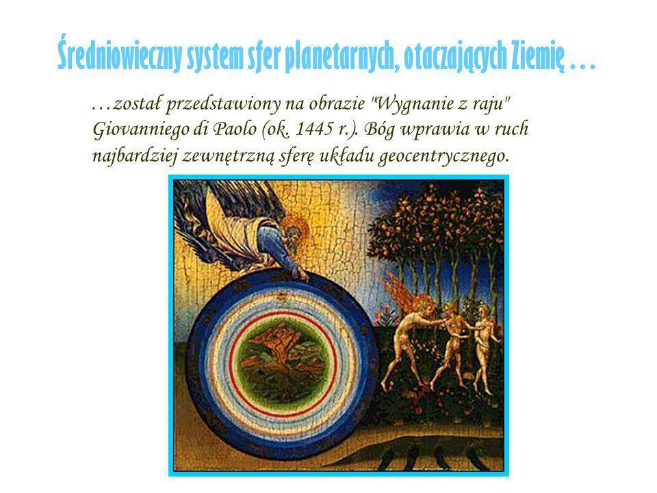 Średniowieczny system sfer planetarnych, otaczających Ziemię… …został przedstawiony na obrazie