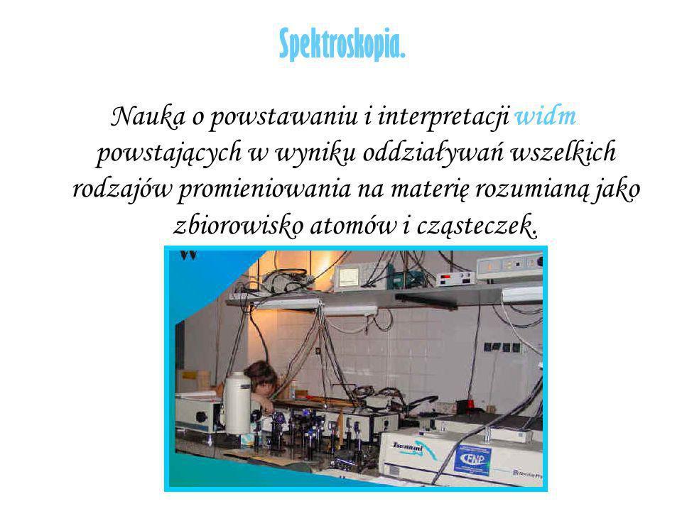 Spektroskopia. Nauka o powstawaniu i interpretacji widm powstających w wyniku oddziaływań wszelkich rodzajów promieniowania na materię rozumianą jako