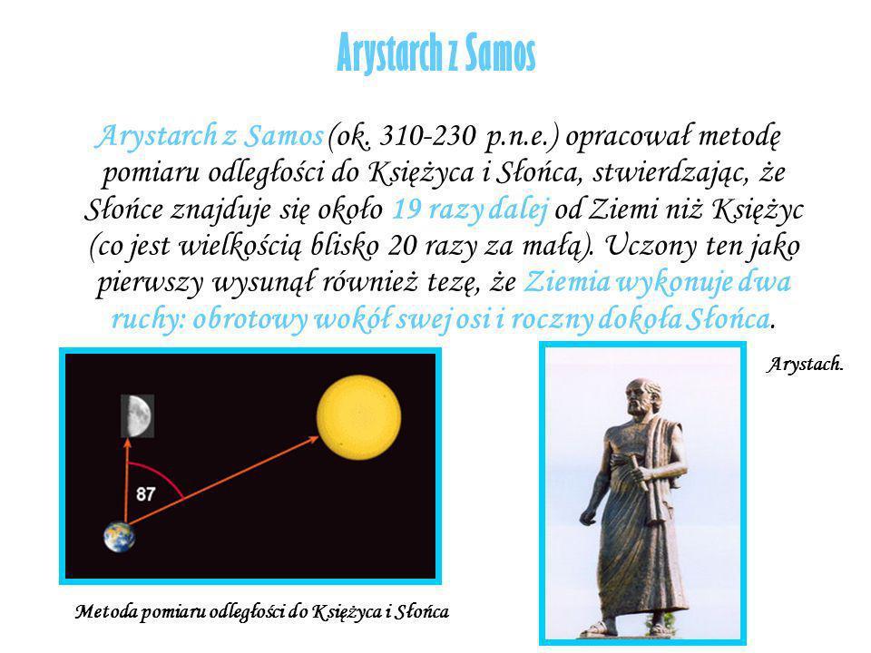 Arystarch z Samos Arystarch z Samos (ok. 310-230 p.n.e.) opracował metodę pomiaru odległości do Księżyca i Słońca, stwierdzając, że Słońce znajduje si
