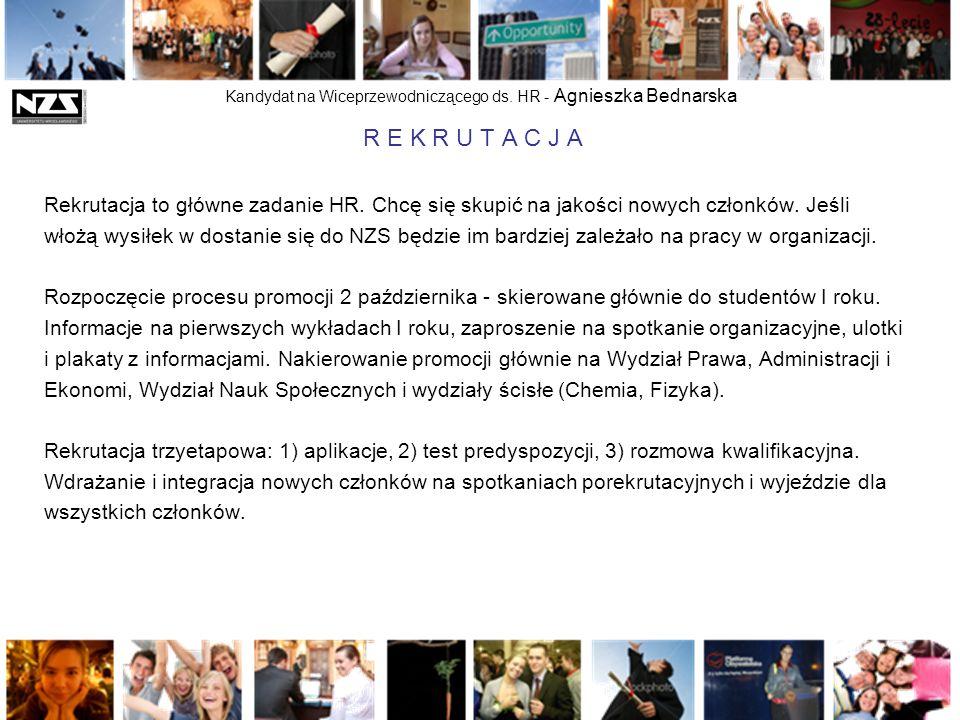 Kandydat na Wiceprzewodniczącego ds. HR - Agnieszka Bednarska R E K R U T A C J A Rekrutacja to główne zadanie HR. Chcę się skupić na jakości nowych c