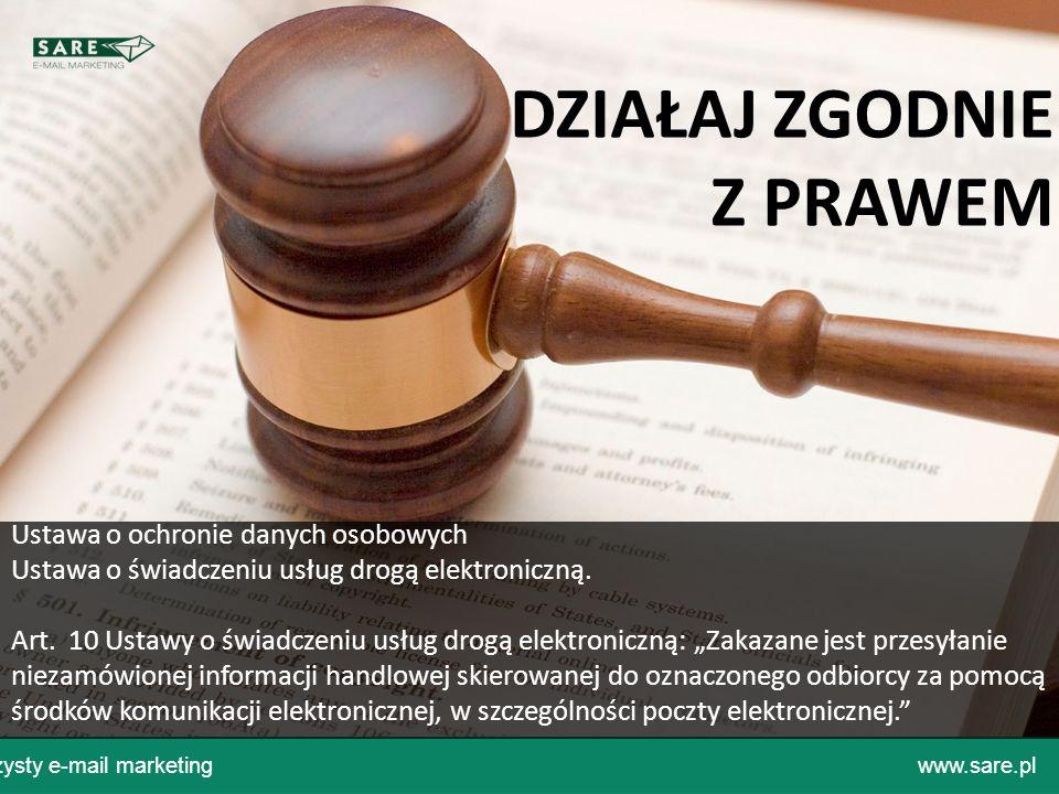 Czysty e-mail marketingwww.sare.pl Ustawa o ochronie danych osobowych Ustawa o świadczeniu usług drogą elektroniczną. Art. 10 Ustawy o świadczeniu usł