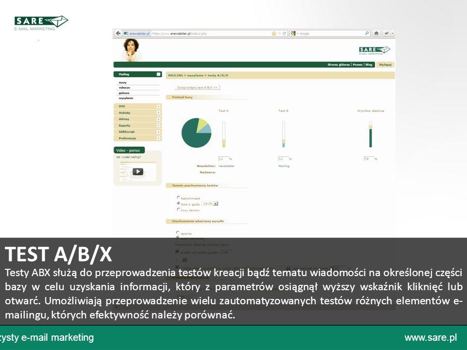 Czysty e-mail marketingwww.sare.pl Testy ABX służą do przeprowadzenia testów kreacji bądź tematu wiadomości na określonej części bazy w celu uzyskania