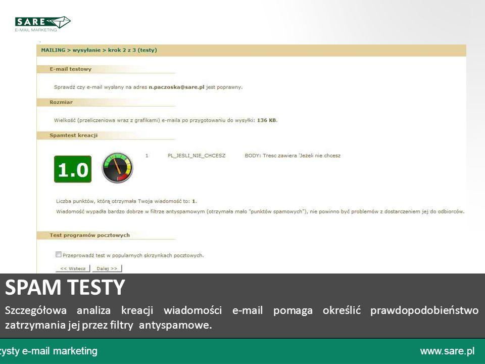 Czysty e-mail marketingwww.sare.pl SPAM TESTY Szczegółowa analiza kreacji wiadomości e-mail pomaga określić prawdopodobieństwo zatrzymania jej przez f