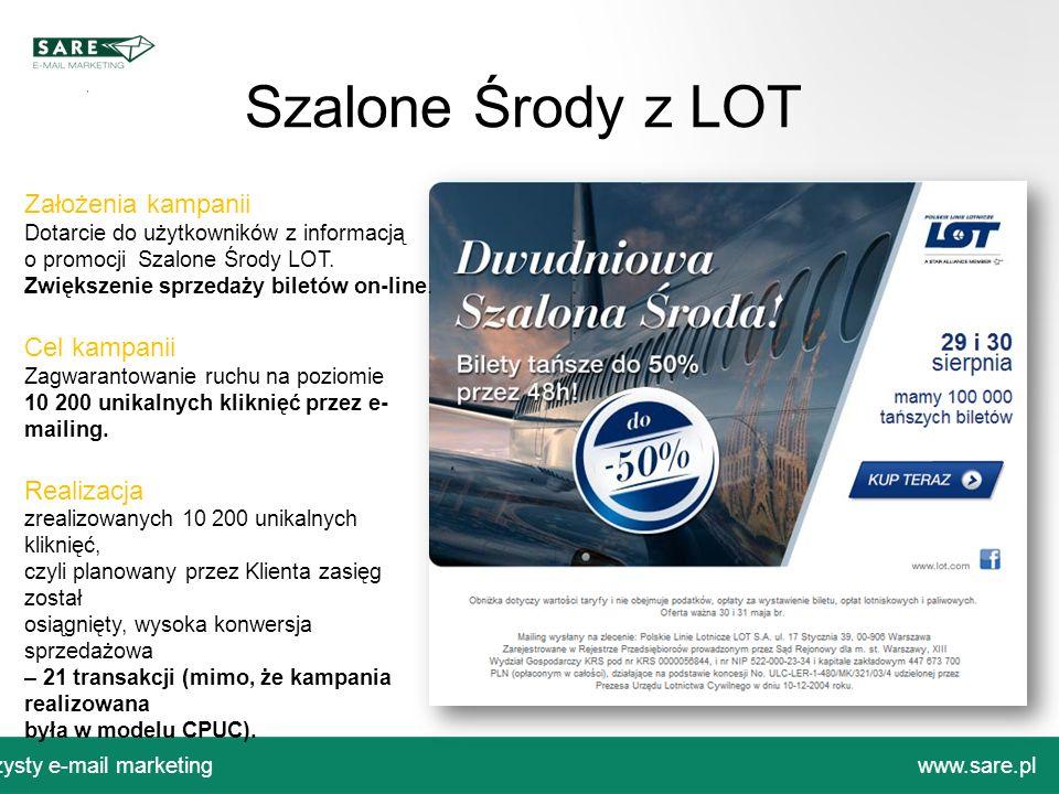 Czysty e-mail marketingwww.sare.pl Szalone Środy z LOT Założenia kampanii Dotarcie do użytkowników z informacją o promocji Szalone Środy LOT. Zwiększe