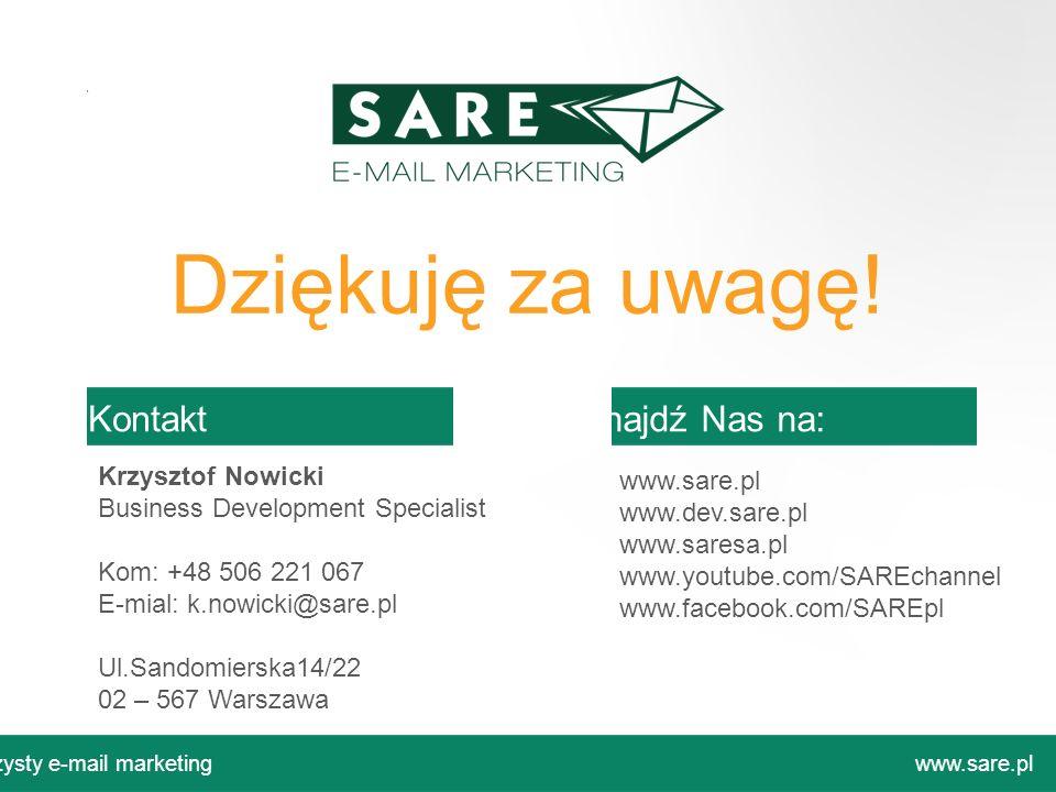 Ul.Sandomierska14/22 02 – 567 Warszawa www.sare.pl www.dev.sare.pl www.saresa.pl www.youtube.com/SAREchannel www.facebook.com/SAREpl Dziękuję za uwagę