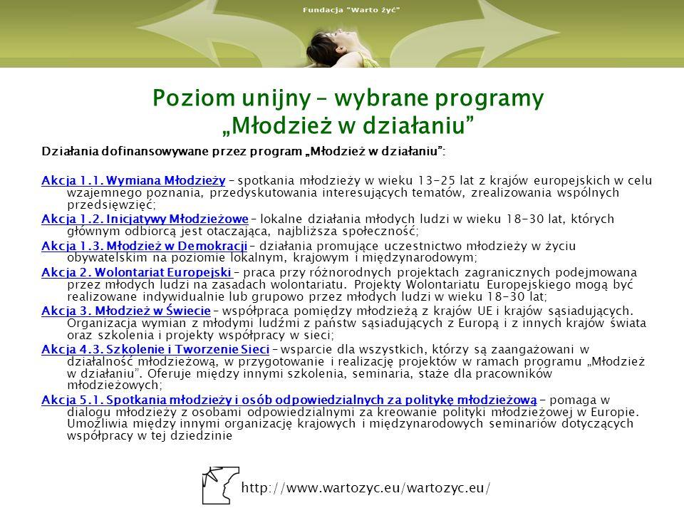 http://www.wartozyc.eu/wartozyc.eu/ Poziom unijny – wybrane programy Młodzież w działaniu Działania dofinansowywane przez program Młodzież w działaniu: Akcja 1.1.