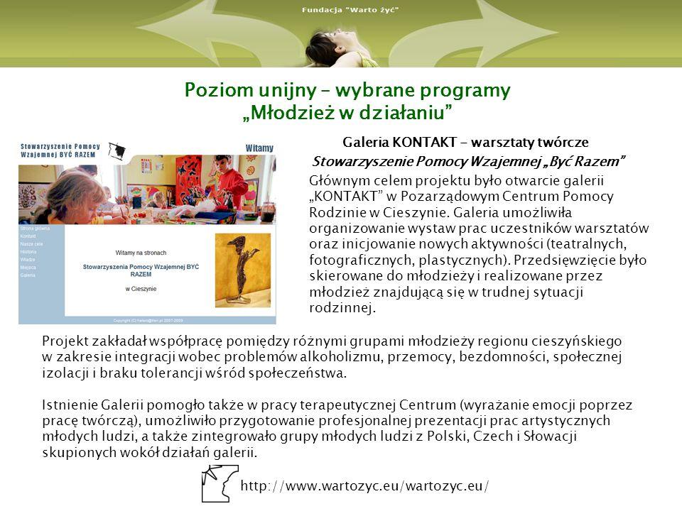 http://www.wartozyc.eu/wartozyc.eu/ Poziom unijny – wybrane programy Młodzież w działaniu Galeria KONTAKT - warsztaty twórcze Stowarzyszenie Pomocy Wzajemnej Być Razem Głównym celem projektu było otwarcie galerii KONTAKT w Pozarządowym Centrum Pomocy Rodzinie w Cieszynie.