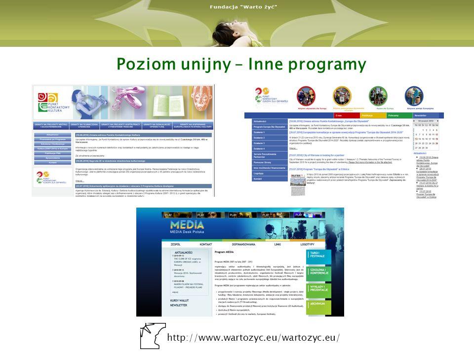 http://www.wartozyc.eu/wartozyc.eu/ Poziom krajowy– Działanie 7.3 PO KL Działanie 7.3.