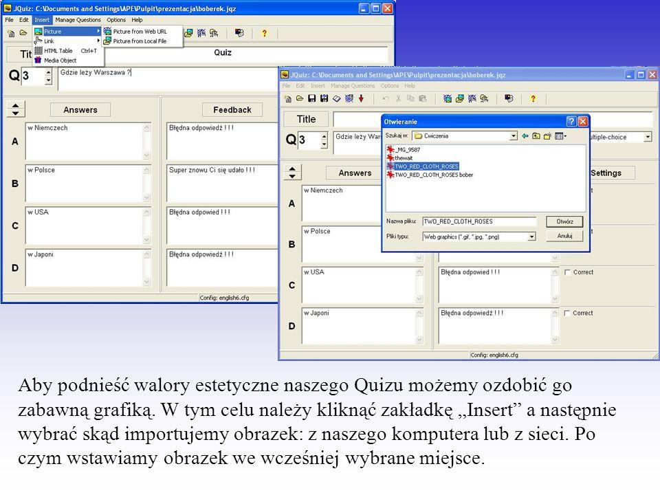 Możemy także wstawić plik multimedialny.Wybierając zakładkę Insert a następnie Media Object.