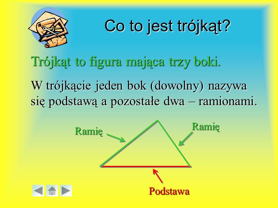 Własności trójkąta: a)równobocznego, równobocznego, Własności wybranych trójkątów