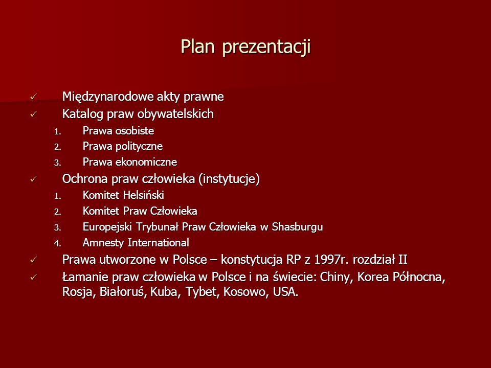 Plan prezentacji Międzynarodowe akty prawne Międzynarodowe akty prawne Katalog praw obywatelskich Katalog praw obywatelskich 1. Prawa osobiste 2. Praw