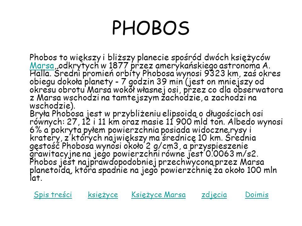PHOBOS Phobos to większy i bliższy planecie spośród dwóch księżyców Marsa, odkrytych w 1877 przez amerykańskiego astronoma A. Halla. Średni promień or