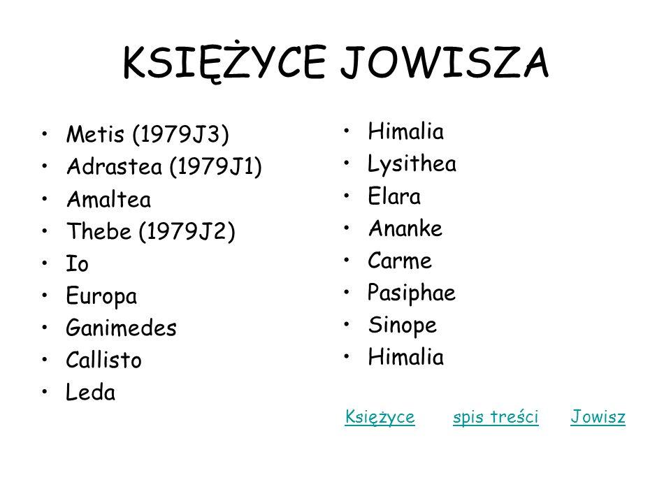 KSIĘŻYCE JOWISZA Metis (1979J3) Adrastea (1979J1) Amaltea Thebe (1979J2) Io Europa Ganimedes Callisto Leda Himalia Lysithea Elara Ananke Carme Pasipha