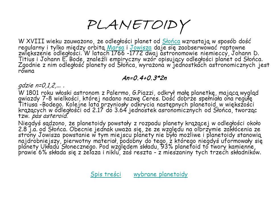 PLANETOIDY W XVIII wieku zauważono, że odległości planet od Słońca wzrastają w sposób dość regularny i tylko między orbitą Marsa i Jowisza daje się za