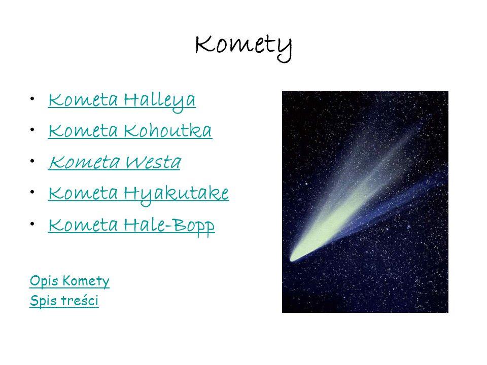 Komety Kometa Halleya Kometa Kohoutka Kometa Westa Kometa Hyakutake Kometa Hale-Bopp Opis Komety Spis treści
