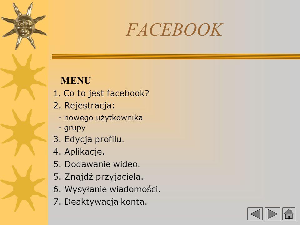 FACEBOOK MENU 1.Co to jest facebook. 2. Rejestracja: - nowego użytkownika - grupy 3.