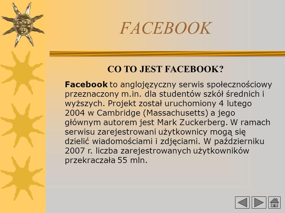 FACEBOOK CO TO JEST FACEBOOK.Facebook to anglojęzyczny serwis społecznościowy przeznaczony m.in.