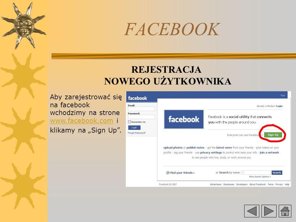FACEBOOK REJESTRACJA NOWEGO UŻYTKOWNIKA Aby zarejestrować się na facebook wchodzimy na strone www.facebook.com i klikamy na Sign Up.