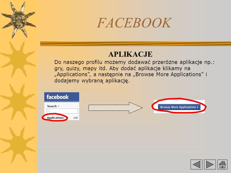 FACEBOOK APLIKACJE Do naszego profilu możemy dodawać przeróżne aplikacje np.: gry, quizy, mapy itd.