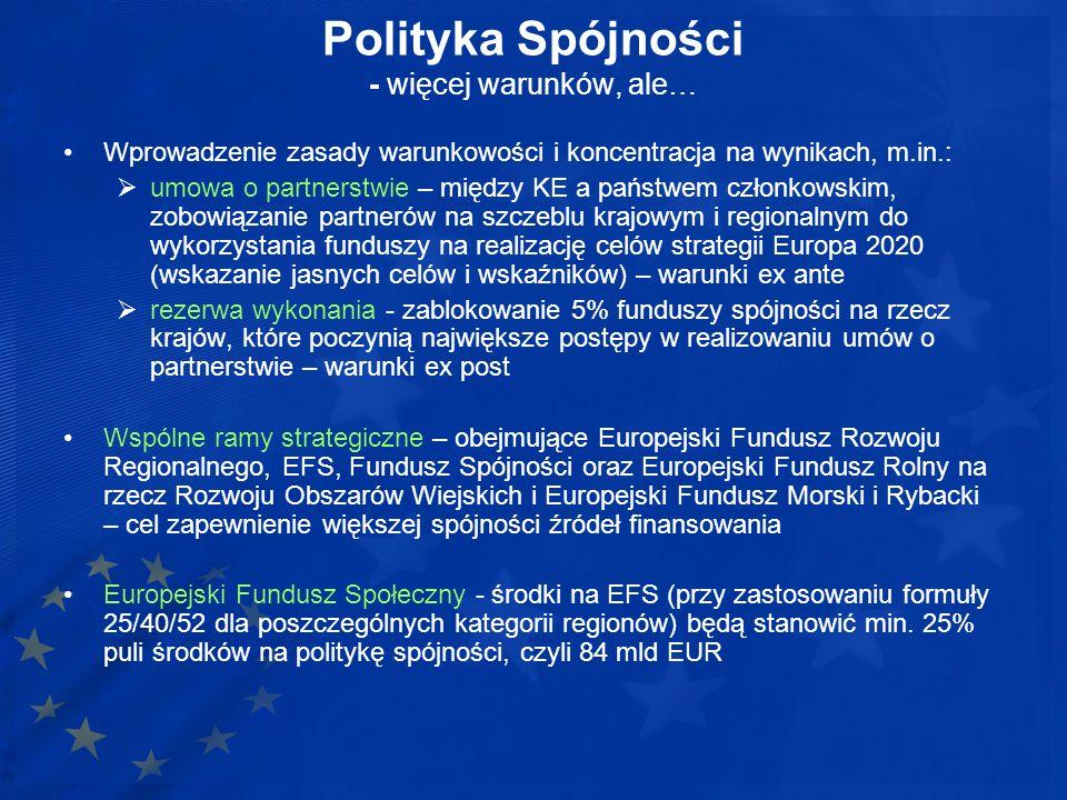 Polityka Spójności - więcej warunków, ale… Wprowadzenie zasady warunkowości i koncentracja na wynikach, m.in.: umowa o partnerstwie – między KE a pańs