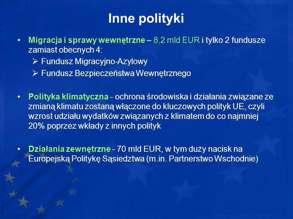 Inne polityki Migracja i sprawy wewnętrzne – 8,2 mld EUR i tylko 2 fundusze zamiast obecnych 4: Fundusz Migracyjno-Azylowy Fundusz Bezpieczeństwa Wewn