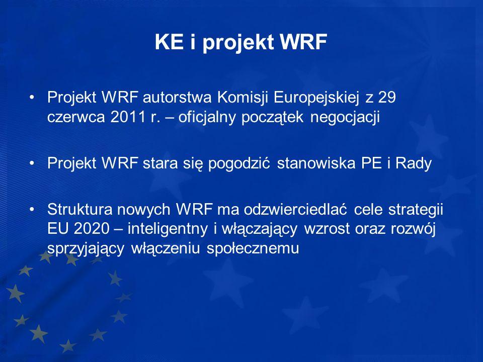KE i projekt WRF Projekt WRF autorstwa Komisji Europejskiej z 29 czerwca 2011 r. – oficjalny początek negocjacji Projekt WRF stara się pogodzić stanow