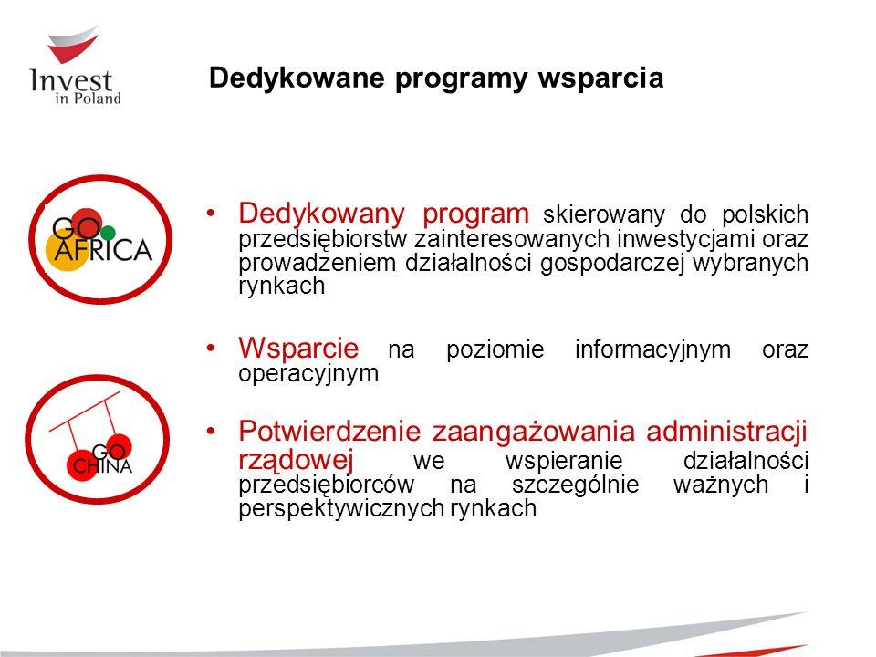 Dedykowane programy wsparcia Dedykowany program skierowany do polskich przedsiębiorstw zainteresowanych inwestycjami oraz prowadzeniem działalności go
