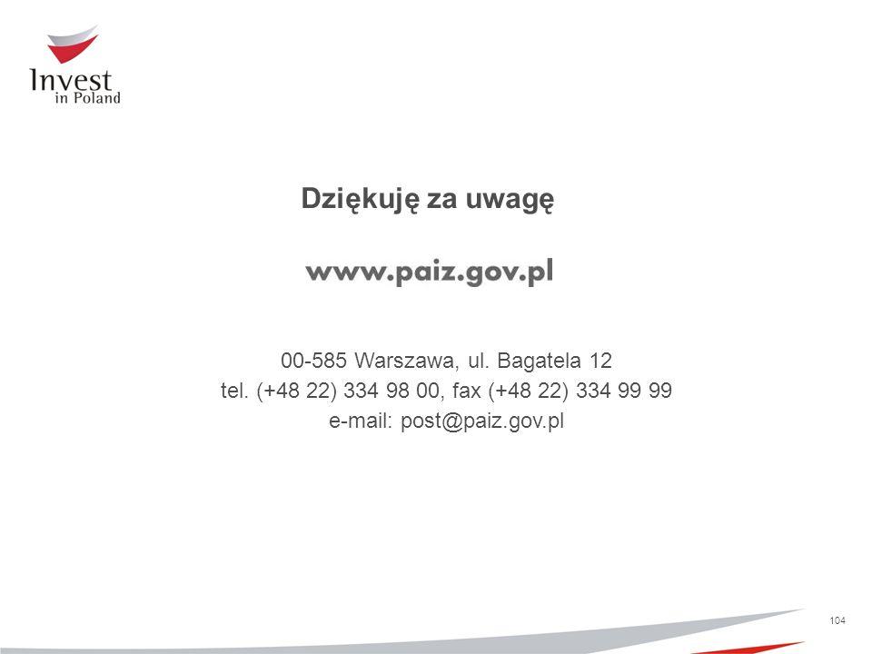 Dziękuję za uwagę 00-585 Warszawa, ul. Bagatela 12 tel. (+48 22) 334 98 00, fax (+48 22) 334 99 99 e-mail: post@paiz.gov.pl 104